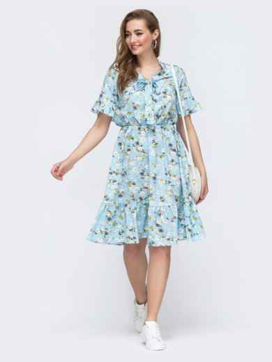 Голубое платье с цветочным принтом и воротником-аскот 48529, фото 1