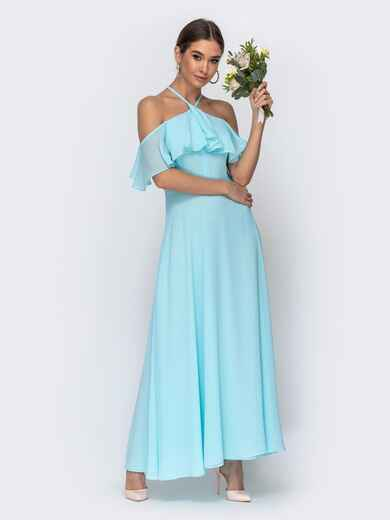 Голубое платье с вырезом «петля» и воланом по верху 44757, фото 1