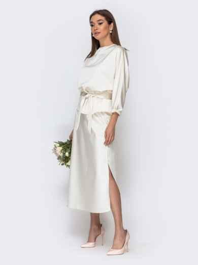 Комплект молочного цвета из блузки и юбки-трапеция 44741, фото 2