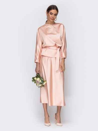 Комплект розового цвета из блузки и юбки-трапеция 44742, фото 2