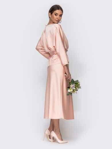 Комплект розового цвета из блузки и юбки-трапеция 44742, фото 4