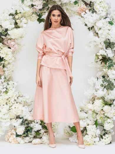 Комплект розового цвета из блузки и юбки-трапеция 44742, фото 5
