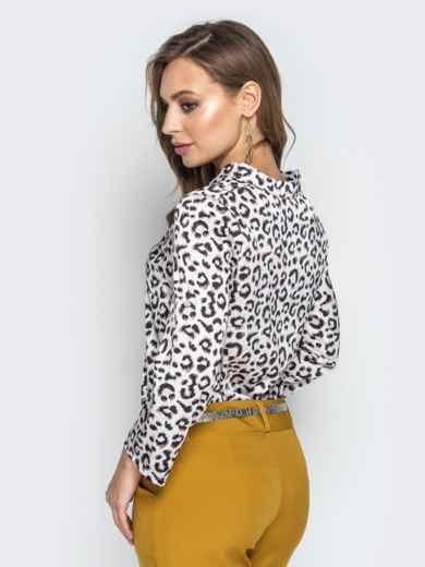 Леопардовая блузка с воротником и V-вырезом белая - 21327, фото 3 – интернет-магазин Dressa