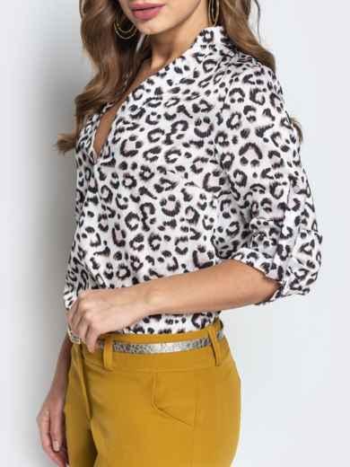 Леопардовая блузка с воротником и V-вырезом белая - 21327, фото 4 – интернет-магазин Dressa