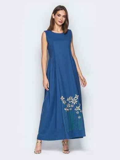 Льняное платье oversize с вышивкой на подоле синее 20658, фото 1