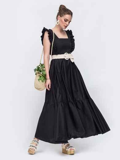 Платье-макси с квадратным вырезом и рюшами по бокам чёрное 48522, фото 2