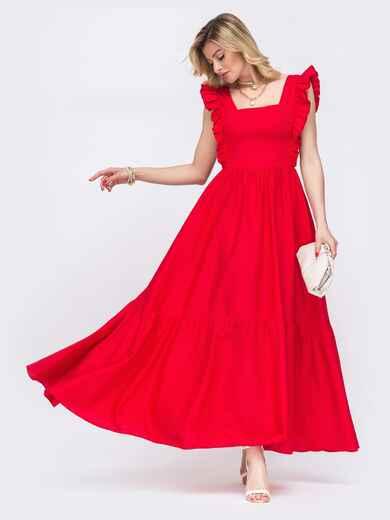 Платье-макси с квадратным вырезом и рюшами по бокам красное 48525, фото 1