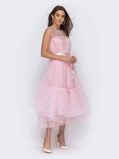 Платье пудрового цвета с фатиновым воланом по низу 44753, фото 2