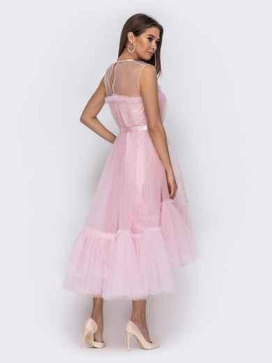 Платье пудрового цвета с фатиновым воланом по низу 44753, фото 3