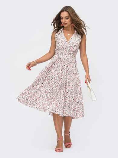 Расклешенное платье белого цвета в цветочный принт  54071, фото 1