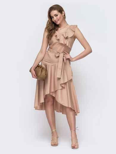 Расклешенное платье с оборками по вырезу бежевое 48526, фото 1