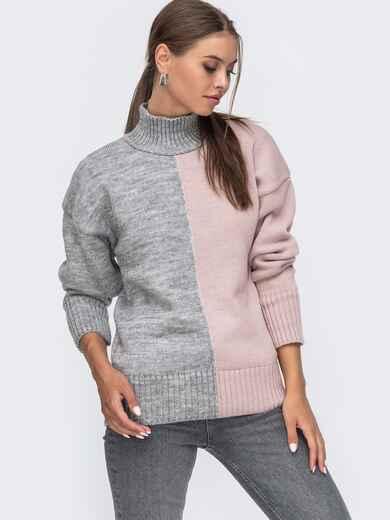 Розовый вязаный свитер с высоким воротником 50713, фото 1