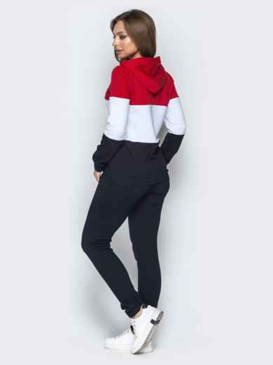 Спортивный костюм с контарстными вставками на кофте чёрный - 21308, фото 2 – интернет-магазин Dressa