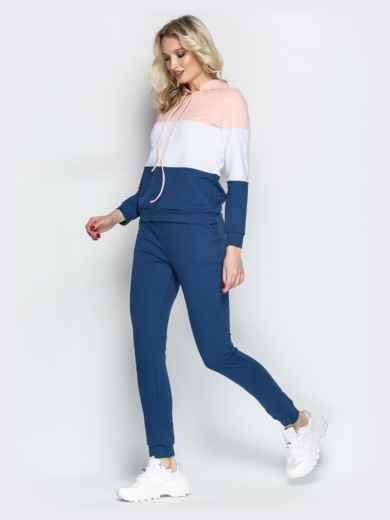 Спортивный костюм с контарстными вставками на кофте синий - 21307, фото 2 – интернет-магазин Dressa