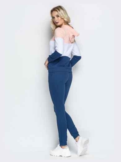 Спортивный костюм с контарстными вставками на кофте синий - 21307, фото 3 – интернет-магазин Dressa