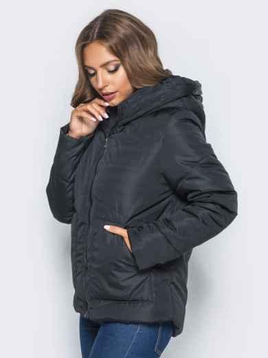 Стёганая куртка с капюшоном и объемными карманами черная 14698, фото 2