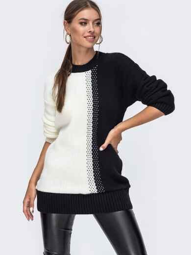 Удлинённый свитер гладкой вязки чёрный 50715, фото 1