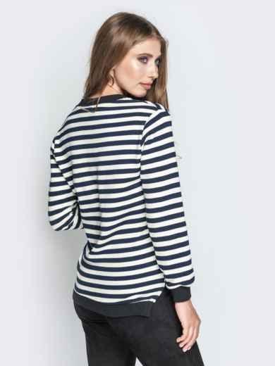 Удлиненный свитшот в полоску с V-вырезом чёрный - 20863, фото 3 – интернет-магазин Dressa