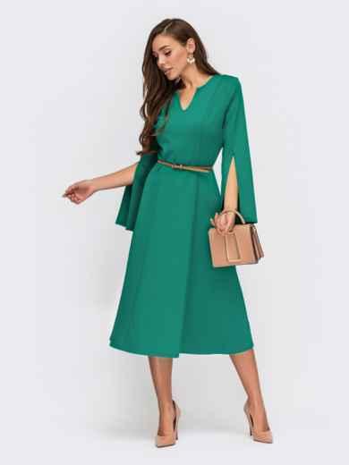 Бирюзовое платье из трикотажа с разрезами на рукавах 55527, фото 1