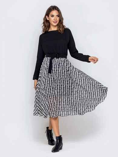 Чёрное платье с расклешенной юбкой из шифона 40929, фото 1
