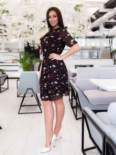 Чёрное шифоновое платье батал с принтом 46505, фото 2