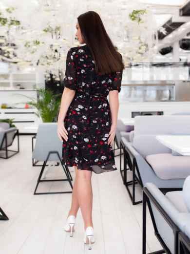 Чёрное шифоновое платье батал с принтом 46505, фото 4