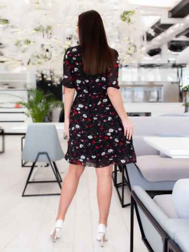 Чёрное шифоновое платье батал с принтом 46505, фото 5