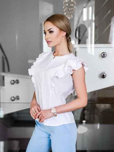 Легкая блузка с планкой и мягкой оборкой - 10239, фото 2 – интернет-магазин Dressa