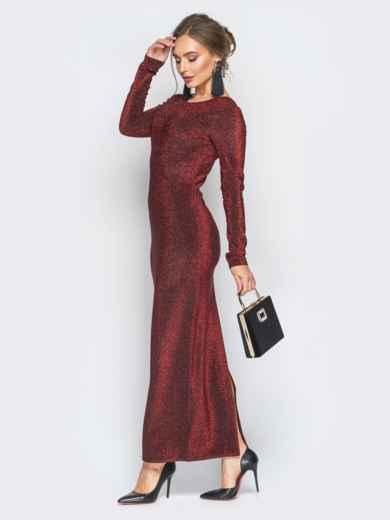 Платье с нитью люрекса и глубоким вырезом на спине бордовое - 18350, фото 2 – интернет-магазин Dressa