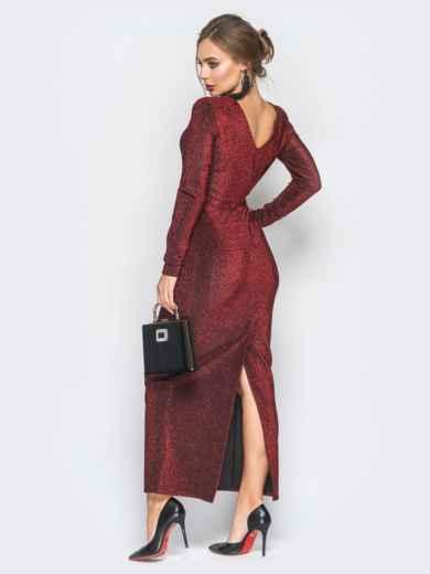 Платье с нитью люрекса и глубоким вырезом на спине бордовое - 18350, фото 3 – интернет-магазин Dressa