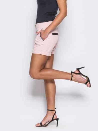 Розовые шорты на молнии с карманами по бокам - 12122, фото 2 – интернет-магазин Dressa