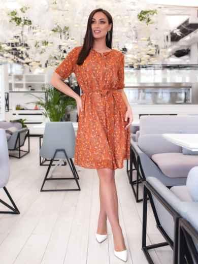 Шифоновое платье батал с принтом оранжевое 46504, фото 2