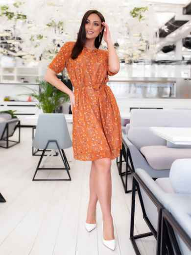 Шифоновое платье батал с принтом оранжевое 46504, фото 3