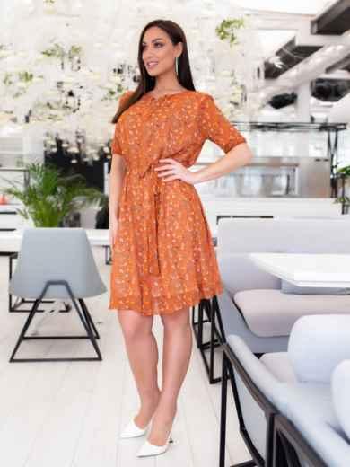Шифоновое платье батал с принтом оранжевое 46504, фото 4