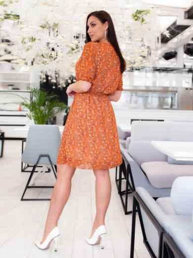 Шифоновое платье батал с принтом оранжевое 46504, фото 5