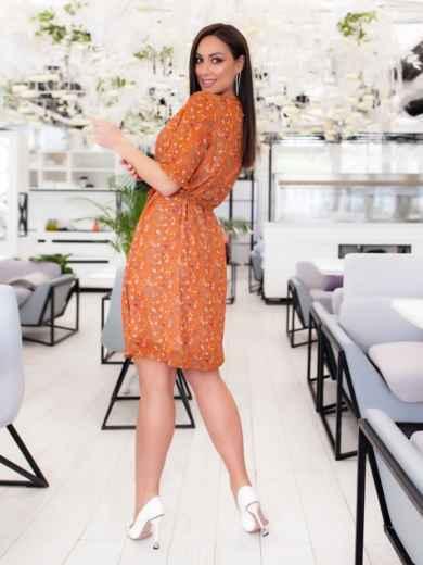 Шифоновое платье батал с принтом оранжевое 46504, фото 6