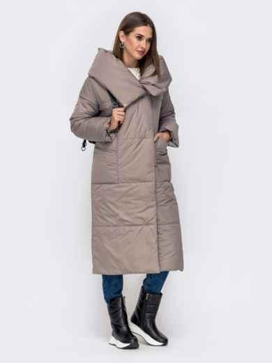 Зимняя куртка со вшитым капюшоном и вязанными манжетами серая 41249, фото 2