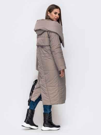 Зимняя куртка со вшитым капюшоном и вязанными манжетами серая 41249, фото 3