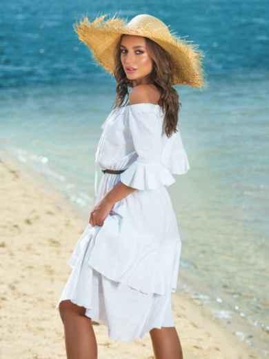 Белое платье с открытыми плечами и двухслойной юбкой 39001, фото 2