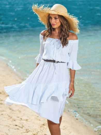 Белое платье с открытыми плечами и двухслойной юбкой 39001, фото 3