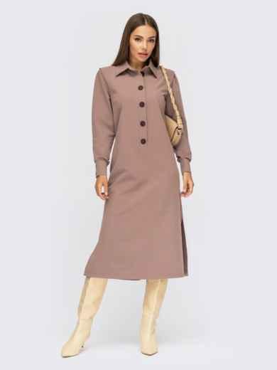 Бежевое платье-рубашка с разрезами по бокам 54820, фото 1