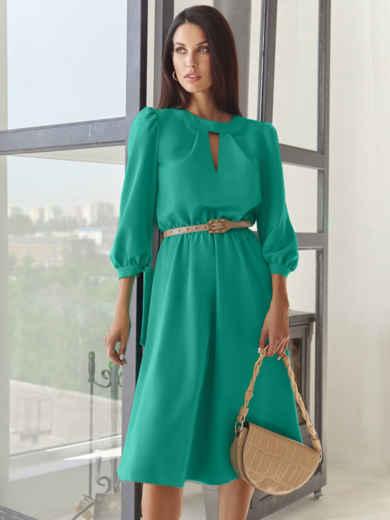 Бирюзовое платье-миди с вырезом и расклешенной юбкой 54818, фото 1