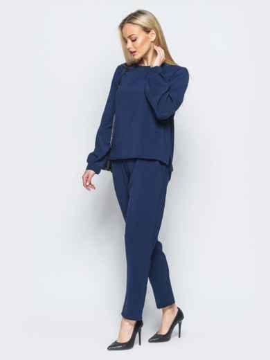 Брючный комплект тёмно-синего цвета из костюмной ткани - 17453, фото 2 – интернет-магазин Dressa