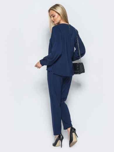 Брючный комплект тёмно-синего цвета из костюмной ткани - 17453, фото 3 – интернет-магазин Dressa