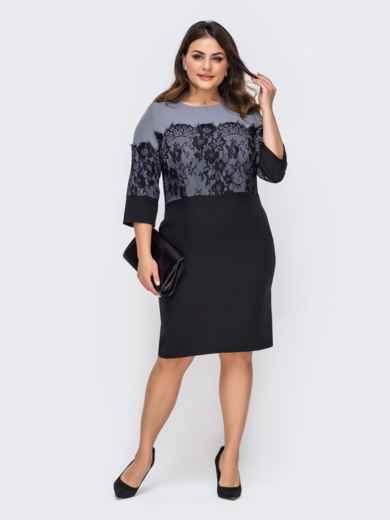 Приталенное платье батал с кружевными вставками серое 51316, фото 1