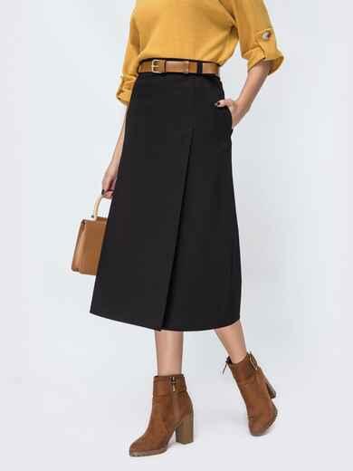 Чёрная юбка-трапеция с карманами по бокам 44109, фото 1