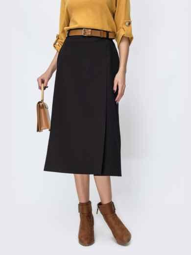 Чёрная юбка-трапеция с карманами по бокам 44109, фото 2