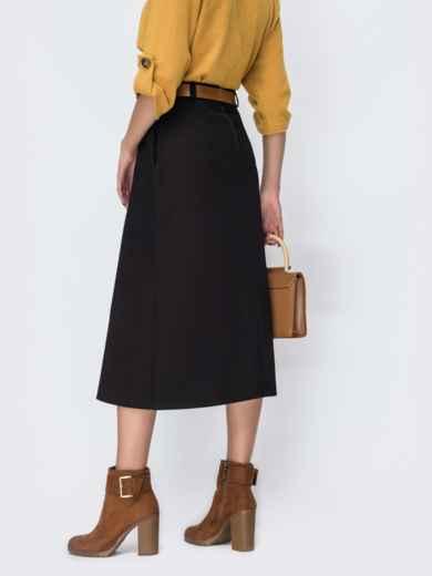 Чёрная юбка-трапеция с карманами по бокам 44109, фото 3