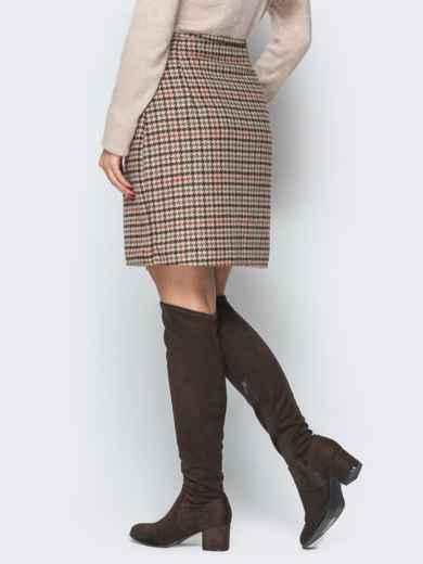 """Коричневая юбка """"гусиные лапки"""" на запах с кнопками - 19326, фото 2 – интернет-магазин Dressa"""