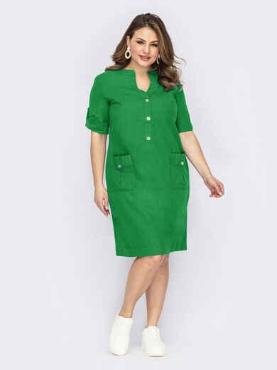 Льняное платье батал с накладными карманами зелёное 54316, фото 1